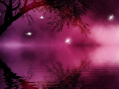 Trees And Purple Magical Background
