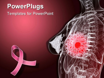 Breast PowerPoint Template Background Of Breast Cancer, Anatomy