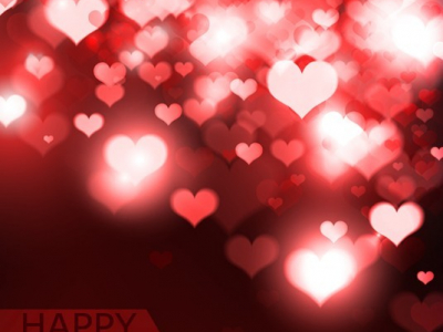 An Elegant Happy Valentine's Day Background With Shining Pink Hearts