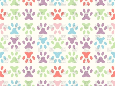 Colorful Paw Print Background Seamless Paw Print Background