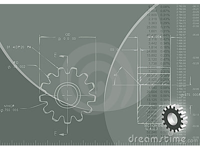 Engineering Background (ized) With Blueprint Of Gear Wheel Rule, 3D