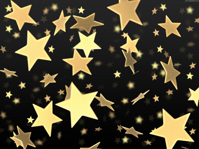 Golden Stars On Black Background  PSDGraphics