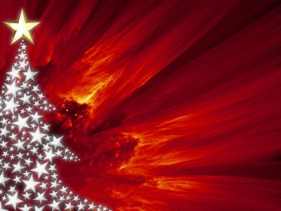 Red Christmas Tree Background Wallpaper for PowerPoint Presentations #3533