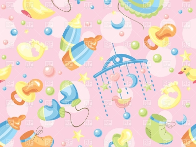 Seamless Pink Background With Baby Toys And Accessories Vector Image