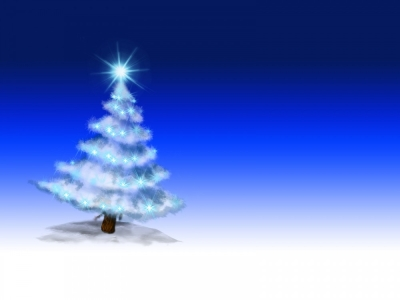 Tree on Blue Powerpoint Backgrounds  Blue, Christmas, White  PPT   #4736