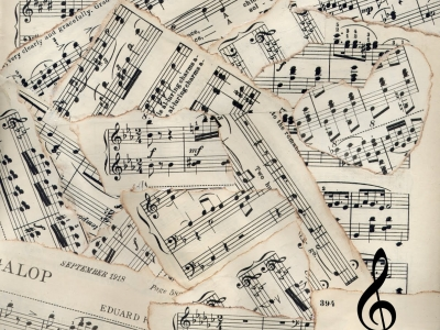 Vintage Sheet Music Patchwork Background Pictures