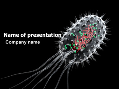 Bacteria Cell PowerPoint Template, Backgrounds  03573