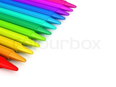 Crayons Background Colour Crayons Over White