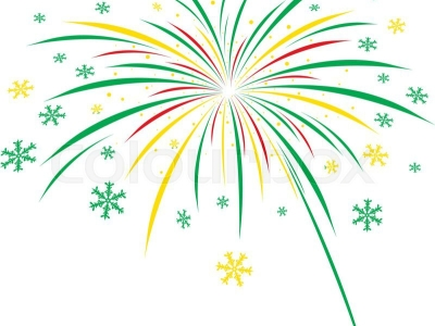 Green Fireworks White Background Christmas firework design on white   #6790