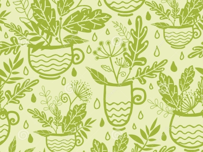 Green Tea Cups Seamless Pattern Background Royalty Free Stock Photo   #7371