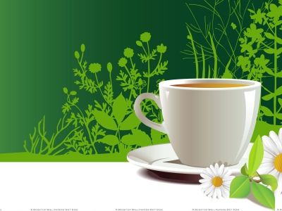 White Artistic Cup Of Tea In Plate With Flower Wallpaper