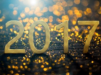 2017 Happy New Year background with gold light background Stock Photo   #8925