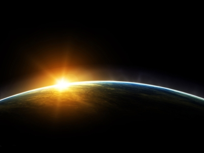 Background With Sun Light Design Earth And Sun PowerPoint Background