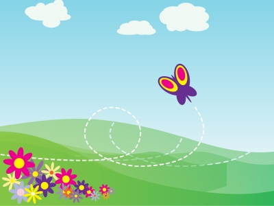 Cartoon Butterfly And Flowers PPT Backgrounds