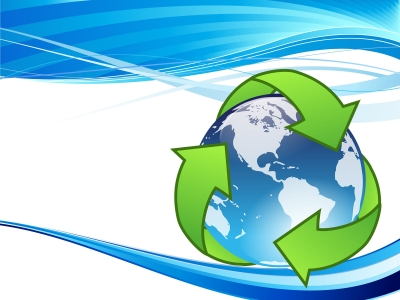 Crystal Earth Recycle Backgrounds  Technology  PPT Backgrounds