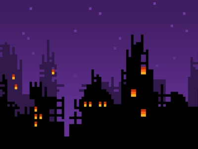 Download 8bit Skyline Wallpaper 1920x1200  Wallpoper # #8211