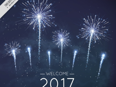 New Year Fireworks Background In Dark Blue Lor Vector  Free
