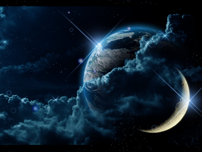 space presentations  Abstract Earth with Moon PowerPoint background   #8832