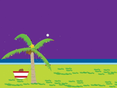 Tropical Ocean Backgrounds  Green, Holiday, Purple  PPT Backgrounds