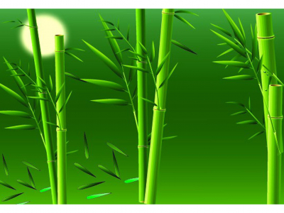 Bamboo Green Background With Sun