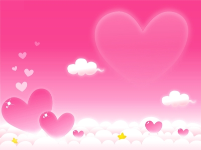 Violet Heart Clouds Backgrounds For PowerPoint  Beauty PPT Templates