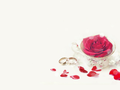 Wedding Ring And Rose Backgrounds For PowerPoint  Love PPT Templates