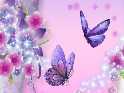 Floral Decorations With Butterfly Wallpaper Background