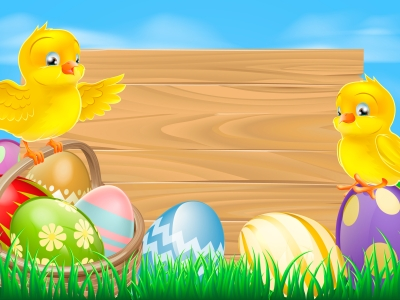 Easter Background With Eggs And Chickens