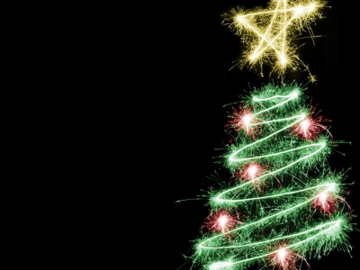 Shimmering Christmas Tree On Christmas, Black Background Wallpapers