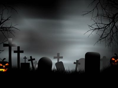 Spooky A Creepy Graveyard Halloween Background Scene With Graves