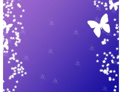 Butterfly With Stars On Purple Backgrounds For Powerpoint