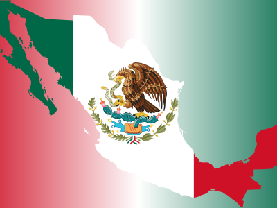 Mexico Flag Map With Background