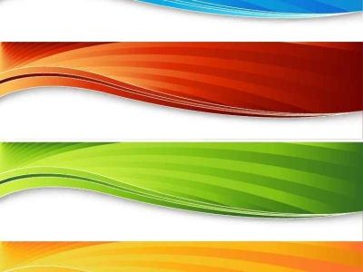 Red, Blue, Green, Orange Banners Background