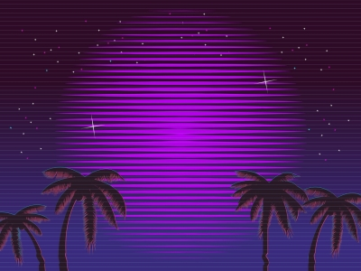 80s Retro Neon Gradient Background