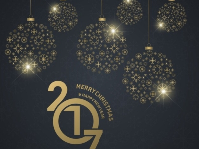 Background Of New Year Balls With Golden Christmas