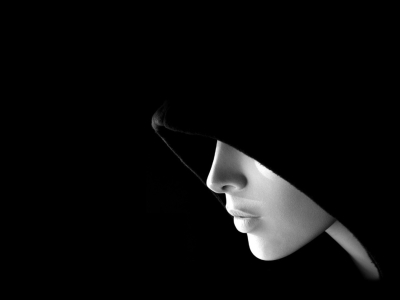 Black Mysterious Female Face Background