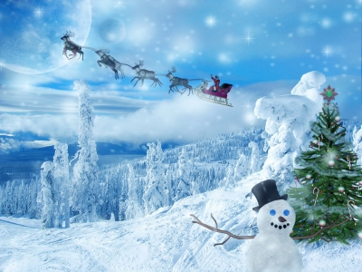 Blue And White Free Christmas Wallpaper