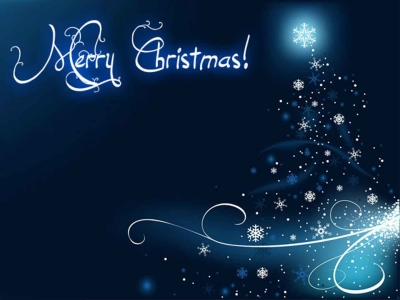 Blue Merry Christmas Background Photo