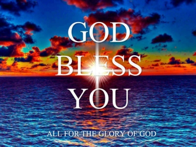 blue sea with god bless you text background #2402