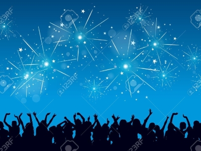 Bright Blue New Years Eve Background