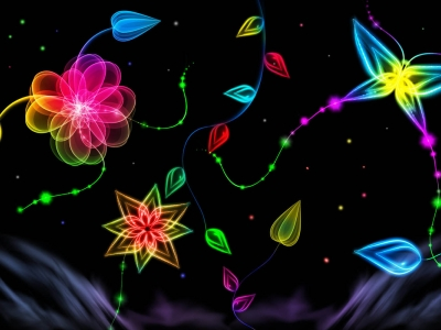 Butterflies And Flowers Neon Art Wallpaper