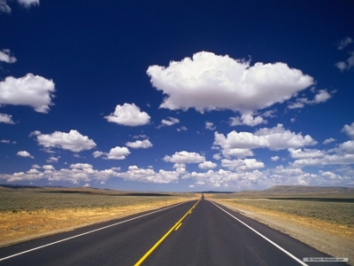 Clouds, Sky, Road Background