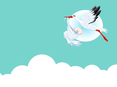 cute baby with stork background, animals, blue, green  #10707