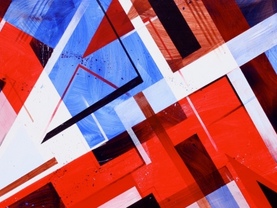geometric blue white and red abstract wallpaper #12242