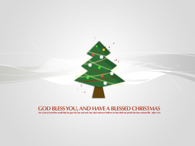 God Bless Christmas Tree Background