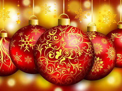 Gold Christmas Ornaments Wallpaper