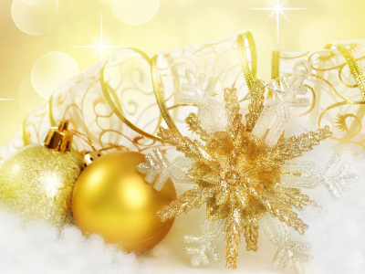 Golden Christmas Ornaments Background Hd