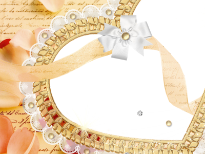 golden heart wedding frame background #2425