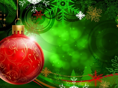 Green Christmas Ornament Red Wallpaper