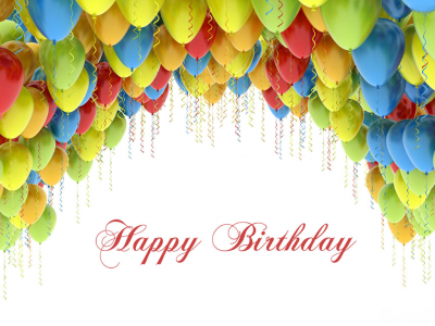 Happy Birthday With Balloons Ppt Background